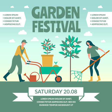 Garden festival template poster vector illustration