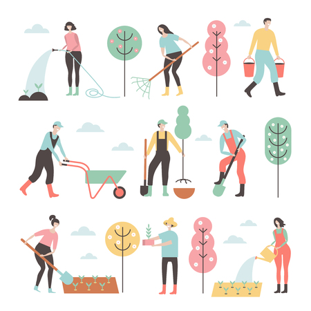 People working in garden design elements and icons in flat style.