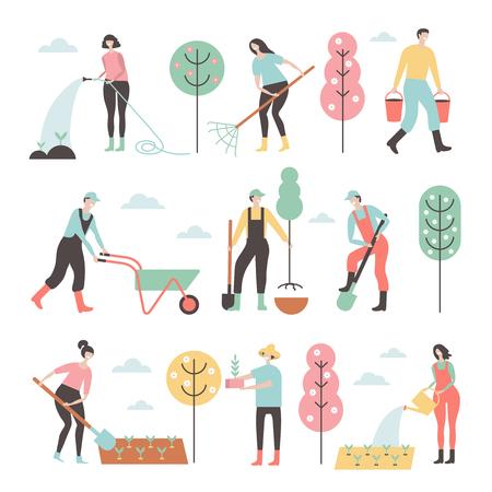Leute, die in den Gartengestaltungselementen und -ikonen in der flachen Art arbeiten.