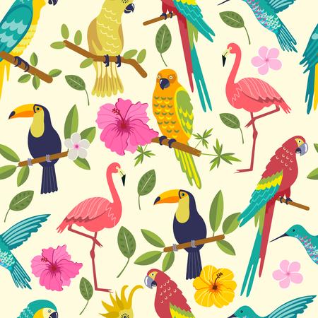 tropical birds. Seamless pattern