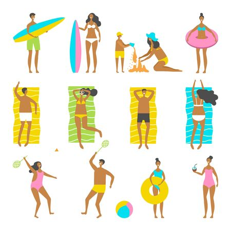 Beach people vector set. Man woman children going have fun interesting holidays illustration. Stock Illustratie