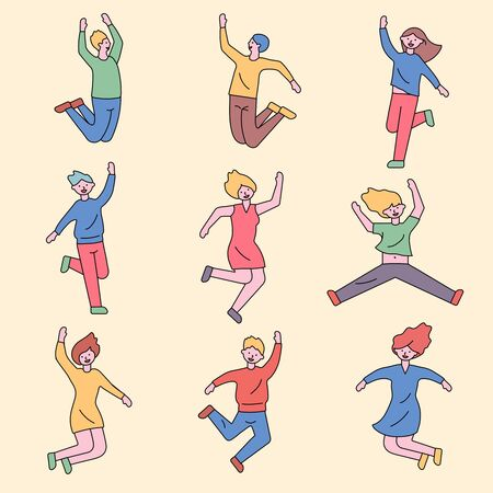 People are jumping with excitement and happiness. Çizim