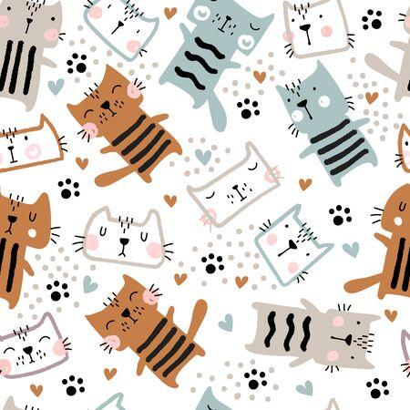 Childish seamless pattern with cute art cats. Ilustracja