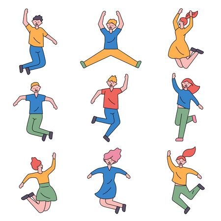 People are jumping with excitement and happiness. Ilustração