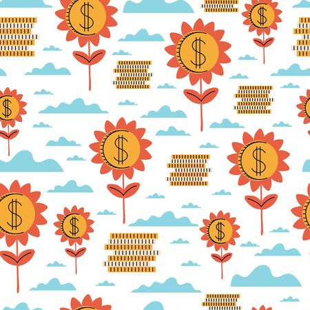 Template for designers and illustrators. Flying golden dollars seamless pattern.