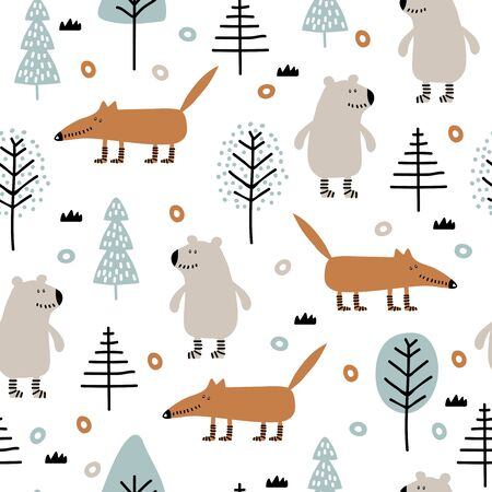 Seamless childish pattern with bear, fox in wood