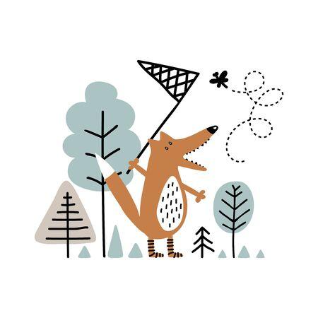Lindo zorro en el bosque atrapando mariposas Ilustración de vector