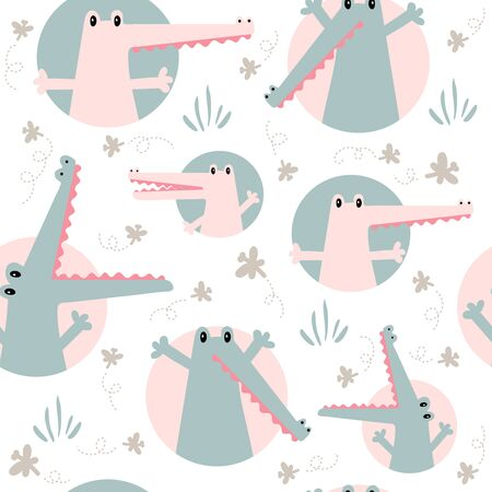 Seamless childish pattern with cute green and pink crocodiles Illusztráció