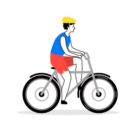 Young man riding a bike - happy flat cartoon character with helmet on bicycle ride. Healthy lifestyle activity, outdoor biking lover - isolated vector illustration on white background