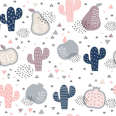 Seamless pattern with cacti and fruits on white background Illustration