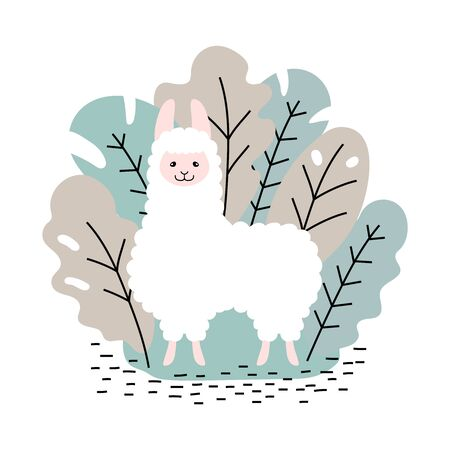 Cute white cartoon llama in the leaves Ilustrace