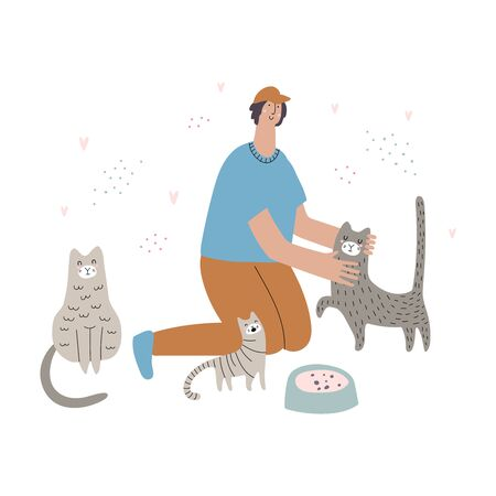 A man feeds cats hand drawn vector illustration