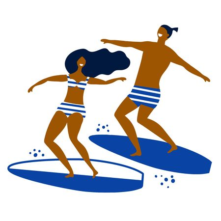 people on surfs ride on the waves on a white background