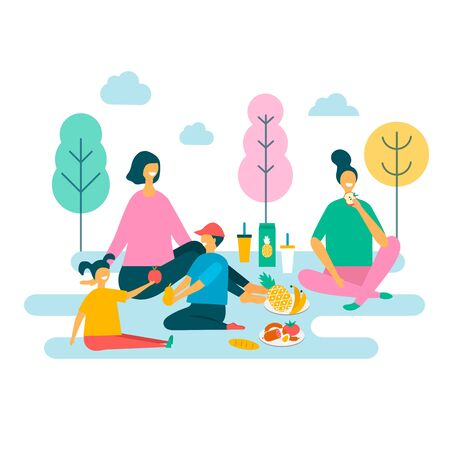 vector illustration of a family in the park on a picnic