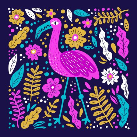 Cute pink flamingo with different leaves vector illustration