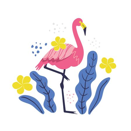 pink flamingo on a white background vector illustration