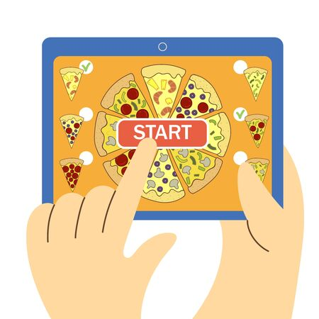 buying pizza through the gadget app vector illustration 일러스트