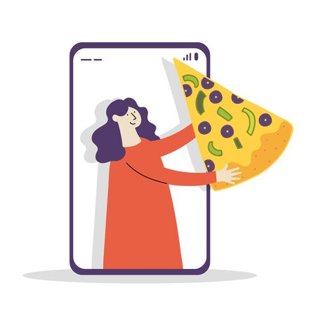 woman carries pizza in mobile app cartoon character vector illustration