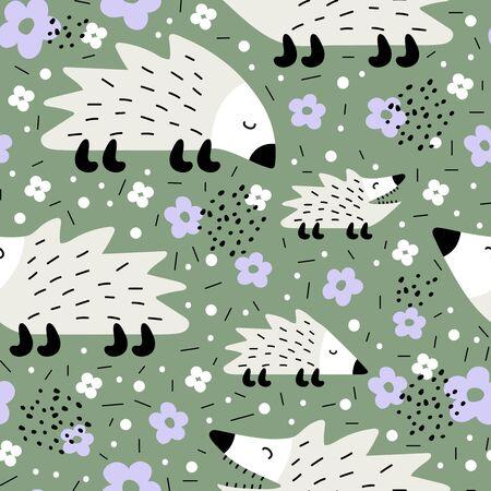 Seamless pattern with cute hedgehogs. Creative scandinavian children texture
