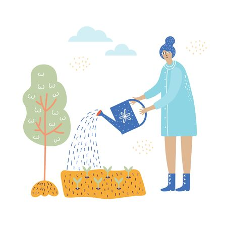 girl works in the garden with plants and water can vector illustration