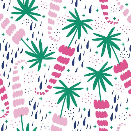pink and red lupins vector seamless pattern illustration Vettoriali