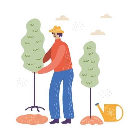 man works in the garden in blue pants vector illustration
