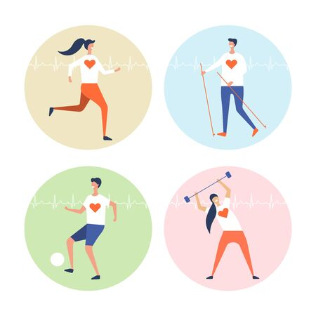 people are engaged in cardio exercises vector set on a white background