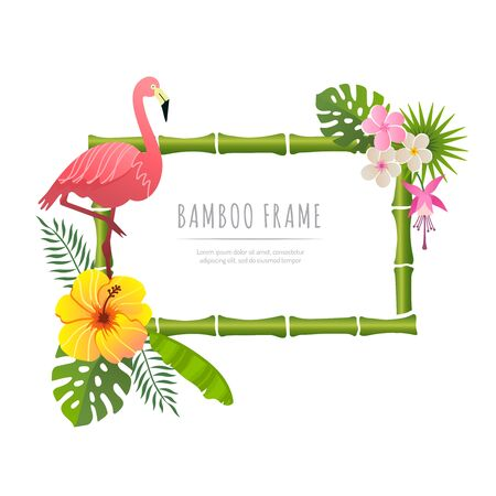 rectangle bamboo frame with flamingo vector illustration on a white background Illustration