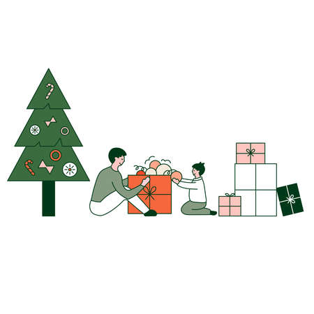 Father and son preparing gifts . Gifts under christmas tree. Vector illustration in flat design style. New year 2021