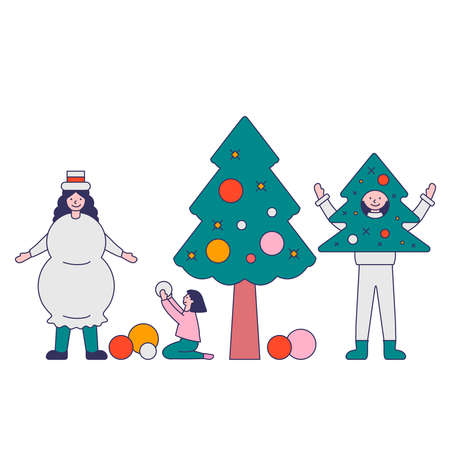 Young beautiful family decorate Christmas tree in costumes