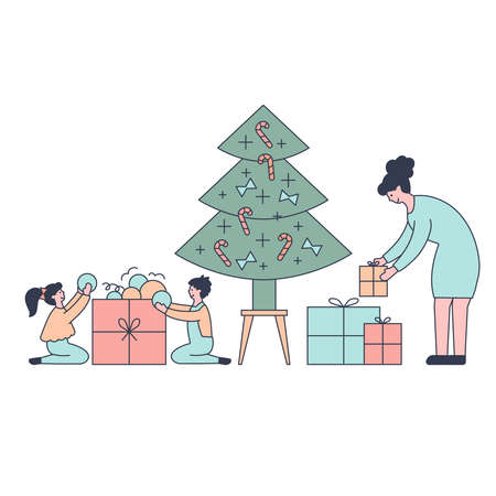 Young beautiful couple preparing gifts . Gifts under christmas tree. Vector illustration in flat design style. New year 2021 版權商用圖片 - 158243170