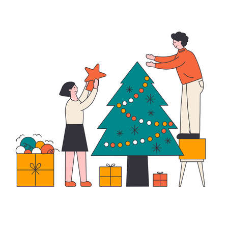 Young beautiful couple decorate Christmas tree with lights, stars, toys. Gifts under christmas tree. 矢量图像
