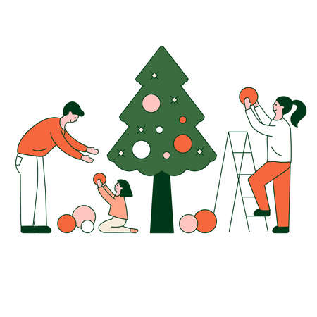 Young beautiful family decorate Christmas tree with lights, stars, toys. Gifts under christmas tree.