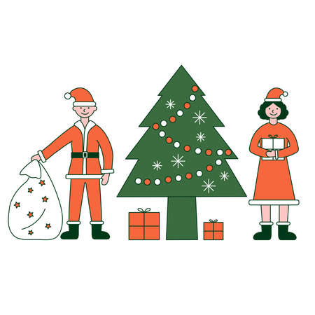 Christmas party. Vector illustration of diverse people in Christmas outfits Ilustração