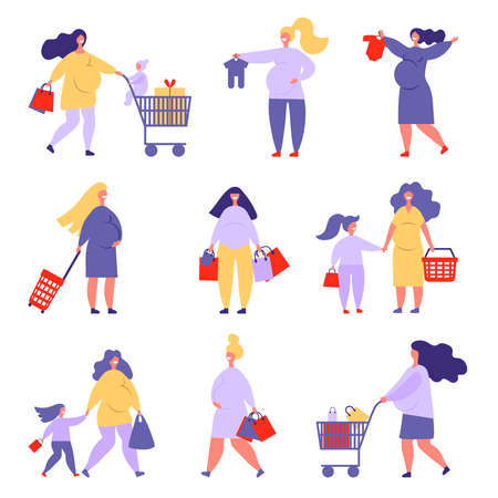pregnant women shopping with cart and kids