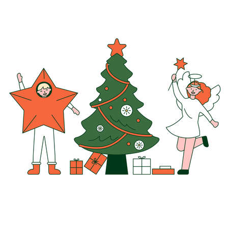 Christmas party. Vector illustration of diverse people in Christmas outfits 矢量图像