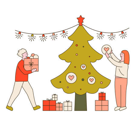 Young beautiful couple preparing gifts . Gifts under christmas tree. Vector illustration in flat design style. New year 2021