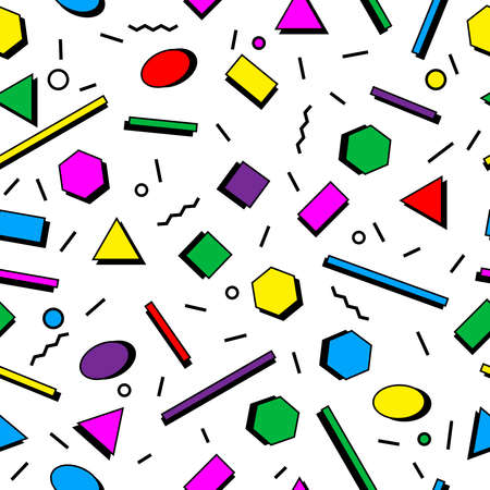 Seamless pattern of abstract geometric shapes, sprinkle, squiggles