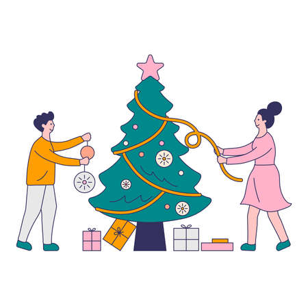 Young beautiful couple decorate Christmas tree with lights, stars, toys. Gifts under christmas tree. Ilustração