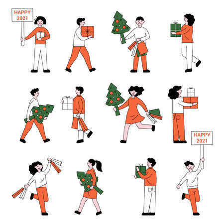 set of people with Christmas trees and gifts