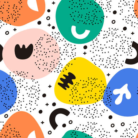 Seamless vector pattern with hand drawn dots. Ilustração