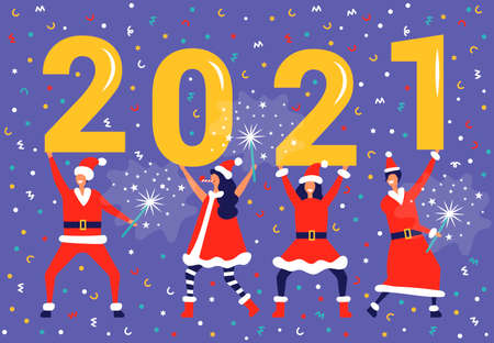 New Year in flat cartoon style with huge numbers