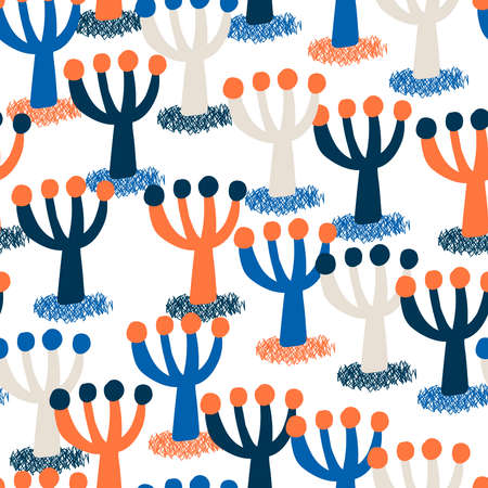 Cute colorful trees seamless pattern. Vector illustration