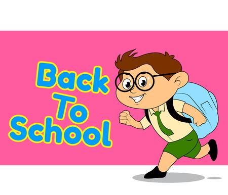 childern: school boy, Back to School illustration  Illustration
