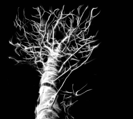 ghostly: A fractal glowing and ghostly Halloween tree. Stock Photo