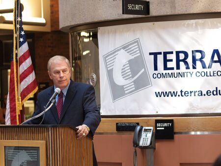 ted: FREMONT, OH - AUGUST 31: Ohio Governor, Ted Strickland, during a campaign stop on August 31, 2010 at Terra Community College in Fremont, OH.