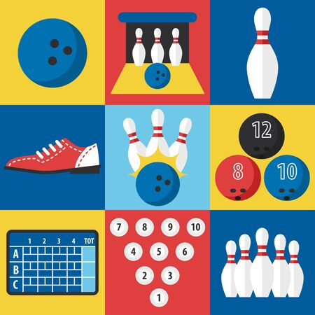 pin icon: Vector set of bowling icons in flat design style.
