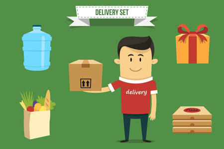 Vector delivery guy with set of icons. Each object can be placed in his hand.