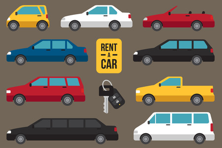 Vector set of different types of cars for rent with car key.
