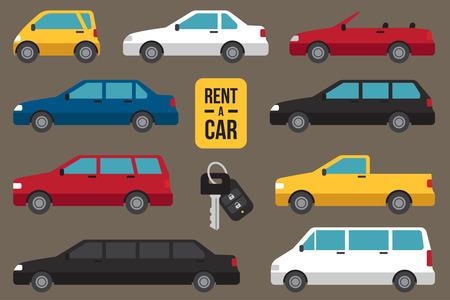 Vector set di diversi tipi di auto in affitto con il tasto dell'automobile.